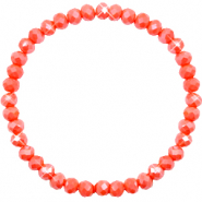Top Facett Glas Armbänder 6x4mm Coral orange-pearl shine coating