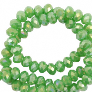 Top Glas Facett Perlen 3x2 mm rondellen Nile green-diamond shine coating