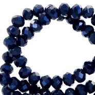 Top Glas Facett Perlen 8x6 mm rondellen Dark blue-pearl shine coating