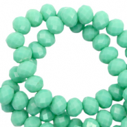 Top Glas Facett Perlen 8x6 mm rondellen Dark spearmint green-pearl shine coating