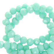 Top Glas Facett Perlen 8x6 mm rondellen Spearmint green-pearl shine coating