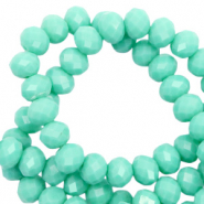 Top Glas Facett Perlen 6x4 mm rondellen Spearmint green-pearl shine coating