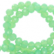 Top Glas Facett Perlen 4x3 mm rondellen Green opal-pearl shine coating