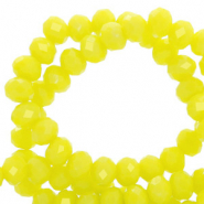 Top Glas Facett Perlen 6x4 mm rondellen Charlock yellow-pearl shine coating