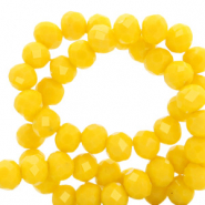 Top Glas Facett Perlen 6x4 mm rondellen Vibrant yellow-pearl shine coating