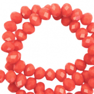 Top Glas Facett Perlen 6x4 mm rondellen Vintage coral red-pearl shine coating