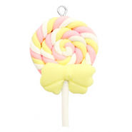 Anhänger 1 Öse Fimo Ice Lolly Yellow-pink
