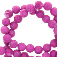6 mm Naturstein Perlen rund Mountain Jade Matt Iris orchid purple