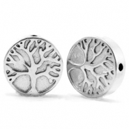 Hematite Perlen Tree of Life 10mm Silver grey