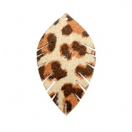 Imi Leder Anhänger Blatt small Leopard Beige-red brown