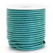 Spar Rollen DQ Leder rund 3 mm Tiffany blue metallic