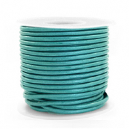 DQ Leder rund 2 mm Tiffany blue metallic