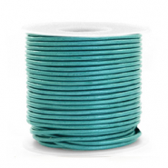 DQ Leder rund 1 mm Tiffany blue metallic