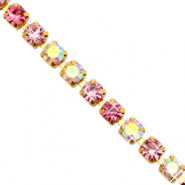 Strass Ketten Pink crystal AB-gold