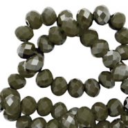 Top Glas Facett Perlen 3x2 mm Rondellen Dark olive green-pearl shine coating