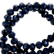 Top Glas Facett Perlen 4x3 mm rondellen Dark blue-pearl shine coating