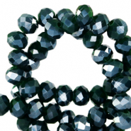Top Glas Facett Perlen 8x6 mm rondellen Eden green-pearl shine coating