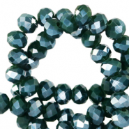 Top Glas Facett Perlen 4x3 mm rondellen Eden green-pearl shine coating