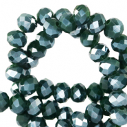 Top Glas Facett Perlen 3x2 mm rondellen Eden green-pearl shine coating