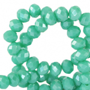 Top Glas Facett Perlen 3x2 mm rondellen Emerald turquoise green-pearl shine coating