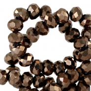 Top Glas Facett Perlen 8x6 mm rondellen Jet brown metallic-pearl shine coating