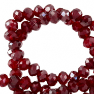 Top Glas Facett Perlen 8x6 mm rondellen Salsa red-pearl shine coating