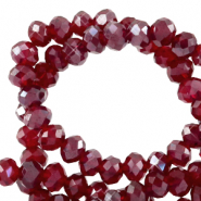 Top Glas Facett Perlen 4x3 mm rondellen Salsa red-pearl shine coating