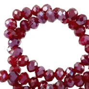 Top Glas Facett Perlen 3x2 mm rondellen Salsa red-pearl shine coating