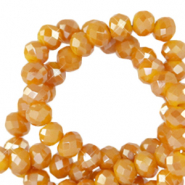 Top Glas Facett Perlen 4x3 mm rondellen Honey golden orange-pearl shine coating