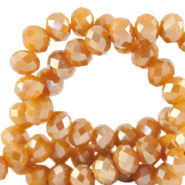 Top Glas Facett Perlen 4x3 mm rondellen Bleached apricot orange-pearl shine coating