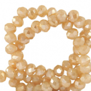 Top Glas Facett Perlen 4x3 mm rondellen Peachy beige-half gold shine coating