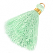 Perlen Quaste 6cm Limitierte Auflage Light mint green-warmgold