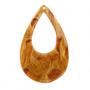 Resin Anhänger Tropfen 57x36mm Golden brown