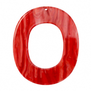 Resin Anhänger Oval 48x40mm Chilli red