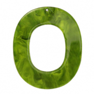 Resin Anhänger Oval 48x40mm Guacamole green