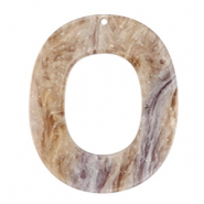 Resin Anhänger Oval 48x40mm Suger almond taupe