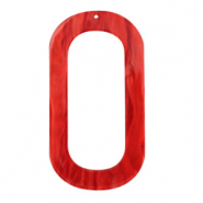 Resin Anhänger lang oval 56x30mm Chilli red