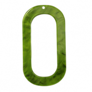 Resin Anhänger lang oval 56x30mm Guacamole green