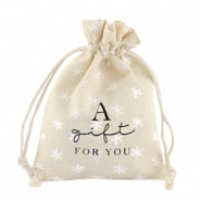 "Schmuckbeutel Leinen ""a gift for you"" Schneeflocke Off white"