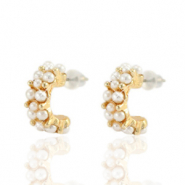 Trendy Ohrringe pearl Creolen 15mm Gold-off white