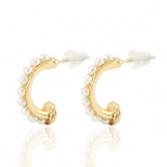 Trendy Ohrringe pearl Creolen 16mm Gold-off white