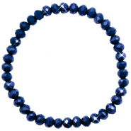 Facett Glas Armbänder 6x4mm Evening blue-pearl shine coating