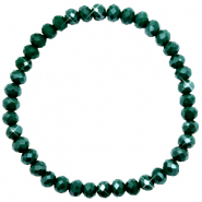 Facett Glas Armbänder 6x4mm Dark eden green-pearl shine coating