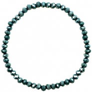 Facett Glas Armbänder 4x3mm Dark eden green-pearl shine coating