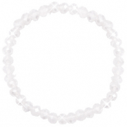 Facett Glas Armbänder 6x4mm White opal-pearl shine coating