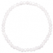 Facett Glas Armbänder 4x3mm White opal-pearl shine coating