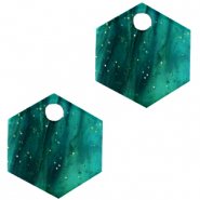 Resin Anhänger Hexagon Ocean green