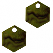 Resin Anhänger Hexagon Olive green
