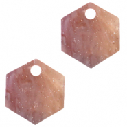 Resin Anhänger Hexagon Sugar almond taupe