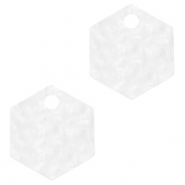 Resin Anhänger Hexagon Bright white